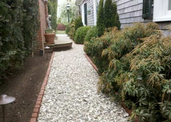 Walkway makeover - Brick edged with grey stone