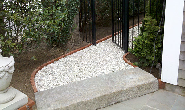 granite step to walkway